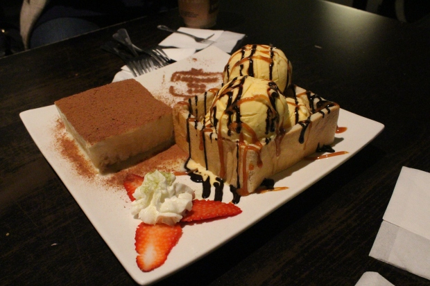 Famous brick toast with ice cream.