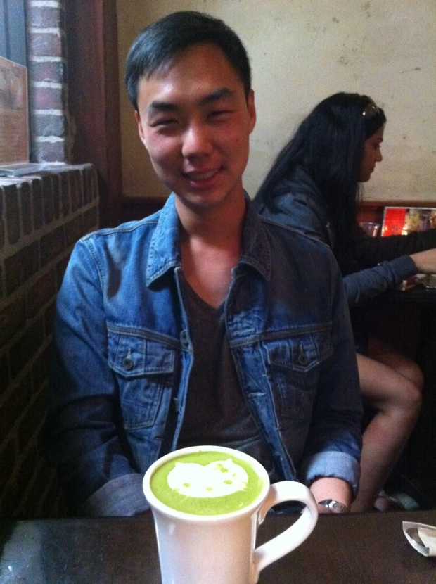 Derek & his Hello Kitty latte.