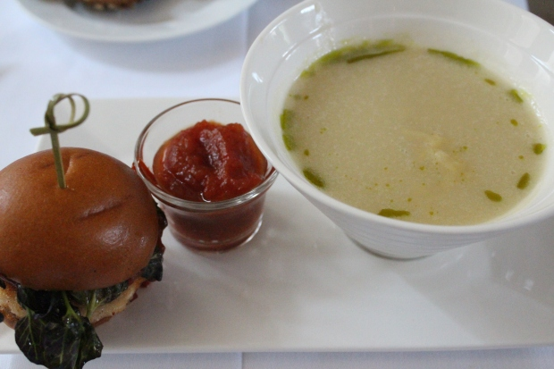 Barbecue Chicken Burger with soup