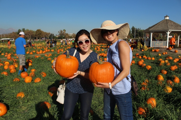 Josephine and I with our pumpkins!
