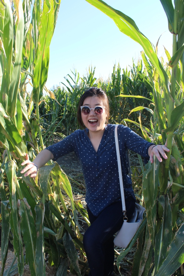 Jo secretly getting out of a corn maze.
