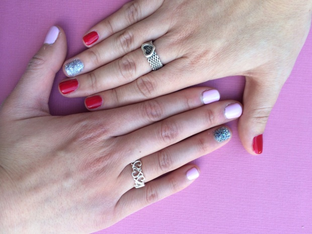 Briana and I had to get our nails done since we were ushers. Rings brought to you by Tiffany & Co.