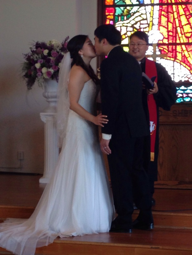 First kiss as a married couple.