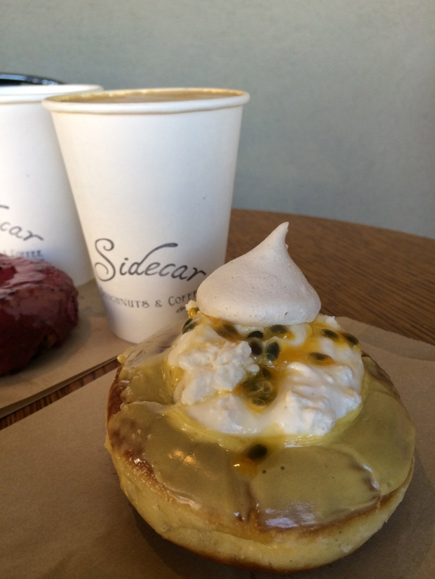 Passion Fruit doughnut and latte.